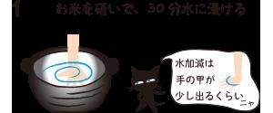 1.お米を研いで、30分水に浸ける(水加減は手の甲が少し出るくらいなニャ)