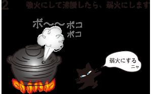 2.強火にして沸騰したら、弱火にします(弱火にするニャ)